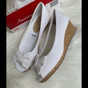 Girls white cork wedge dress shoes bows